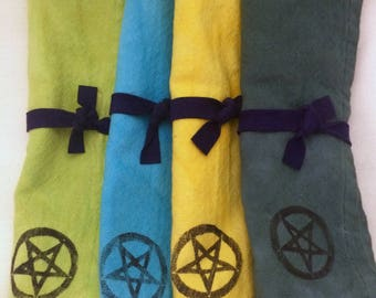 Hand-Dyed Pentagram Cotton Cloth Napkins 18x18