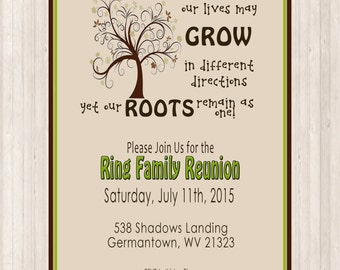 Family Reunion Invite - Swirly Tree - PRINTABLE DIGITAL INVITATION