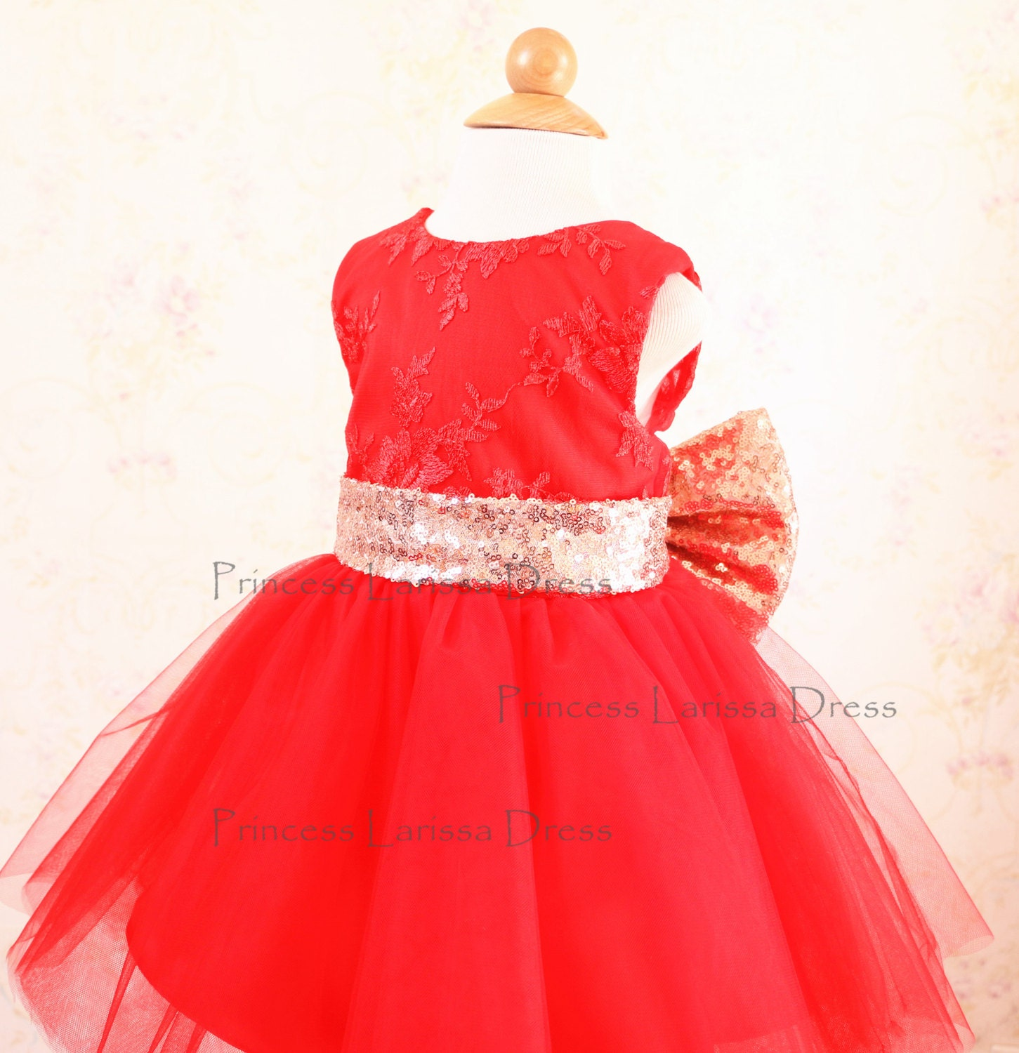 Gold Sequin Sash Toddler Pageant Dress Red Flower Girl Dress