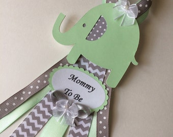 Mint and grey baby shower corsage-Mint and grey elephant baby shower corsage/Grandma to be pin/Elephant corsage/Neutral baby shower corsage