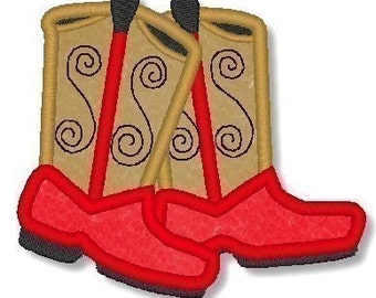 Applique COWBOY BOOTS  4x4  5x7  Machine Embroidery Design cowgirl  INSTANT Download