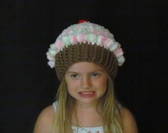 Crochet Cupcake Hat ~ Size Medium ~ Pink, green and white top/Medium brown bottom