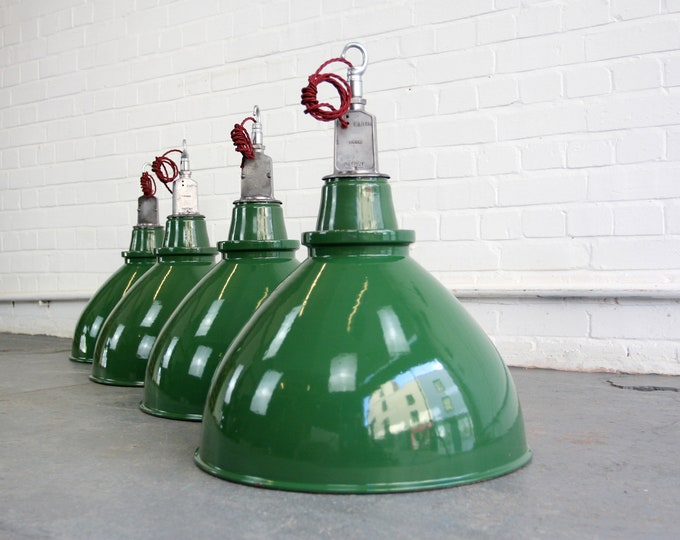 Large WW2 Munitions Factory Pendant Lights By Thorlux