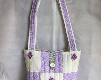 Flower print quilted patchwork tote bag