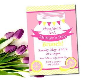 Mütter Tag Brunch Einladung, bedruckbare Muttertag Mittagessen lädt ein, Limonade, Rosa und gelb, Mason Jar, Mütter Tag Mittagessen, DIY Worte