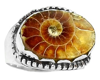 Fossil Ammonite Ring  s.7.5 Sterling Silver