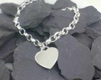 Heart Charm Sterling Silver Bracelet, Personalised Silver Charm Bracelet, Modern Silver Bracelet, 925 Silver Chain Bracelet, Jewellery Gift
