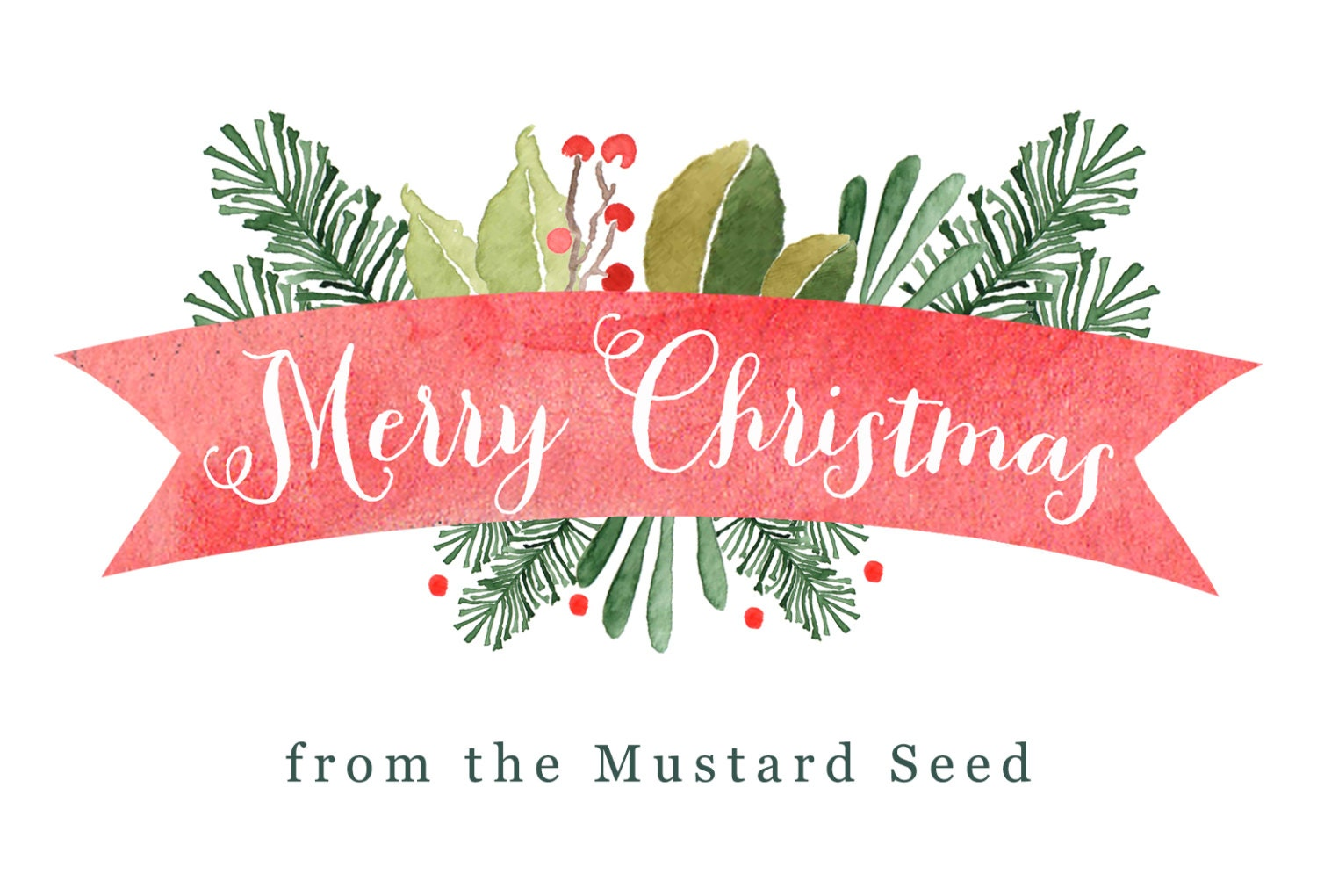 Merry Christmas Banner Business Watercolor Greenery