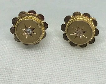 A Pair of Diamond Late Victorian Early Edwardian 9k Gold Earrings