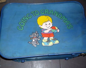 Child's suitcase Vintage Soft sided Going to Grandma's suitcase for your little grandson blue with a cute little boy playing ball