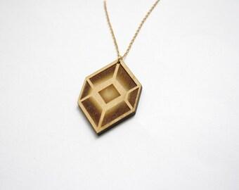 Wooden cube, geometric necklace, collar pendant, opt art inspiration, woman chic, modern minimal, unique present idea, made in France, Paris