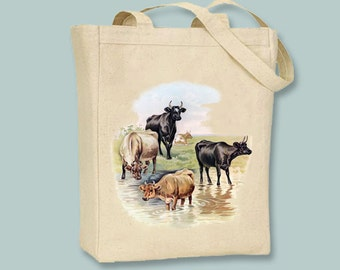 Cows at the Farm Vintage Illustration Canvas Tote -- Selection of size available