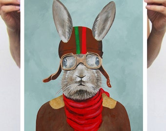 Retro rabbit print, print from original painting by Coco de Paris: Pilot Rabbit