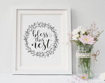Bless this Nest, Printable Art, Repeat, Inspirational Print, Simple Print, Desk Decor, Instant Download, Work Desk, Minimalist Art