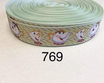 """3 or 5 yard - 1"""" Teapot and Tea Cup inspired from Beauty and the Beast Grosgrain Ribbon Hair bow"""