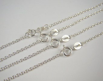 925 Sterling Silver Chain Necklaces Bulk 20 inches 65% Off Retail, 5 Finished Chain Link Necklaces , Round Cable Chain , Wholesale Chains