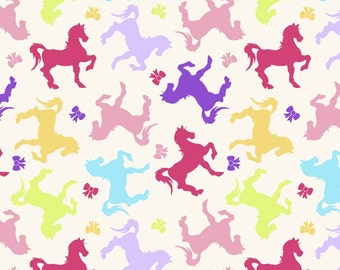 Snuggle Flannel, Horses and Bows Flannel by David Textiles, Fabric by the yard, Pink Purple, Yellow