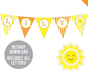INSTANT DOWNLOAD Sunshine Birthday Party Banner (Orange and Yellow)- DIY printable pennant banner - Includes all letters, plus ages 1-18