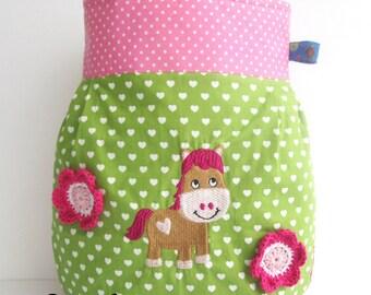 Horse, hand bag kindergarten, butterflies, crochet flowers