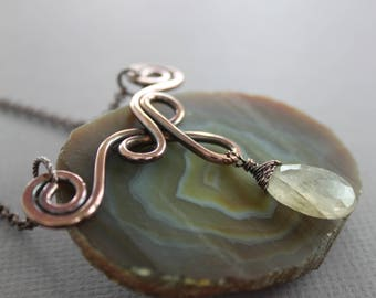 WHILE SUPPLIES LAST, Celtic inspired copper necklace with golden quartz stone, Quartz necklace, Celtic necklace, Drop pendant, NK077