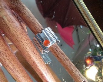 Sterling Silver 925 and Orange Topaz Ring, Size 6