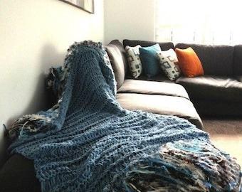 Denim Throw Lap Blanket Blue Knit Afghan Throw for Sectional Sofa Throw