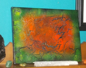Botswana Agate #2 Energy Art Abstract Spray Paint 9x12 Healing Energy Spiritual Painting Stretched Canvas 22.86x30.48 cm