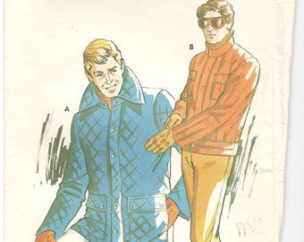 Kwik Sew 756 1970s Mens  Quilted JACKET Pattern Zip Snap Front Adult Vintage Sewing Pattern Size s m l xl  Chest 34 - 48