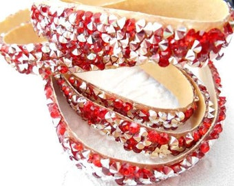 x 20 cm cord rhinestone red and Silver Ribbon tape.