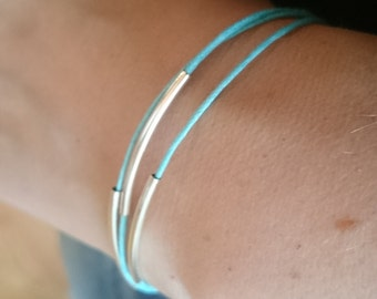 Bracelet made of three strings of blue waxed cord with silver plated tubes /Blue Boho gypsy stackable bracelet / Noodle delicate bracelet