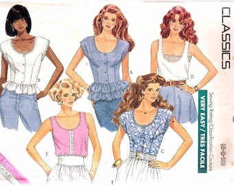 """Vintage 1988 Butterick 6469 Misses Tops Sewing Pattern Size 6 - 8 - 10 Bust 30 1/2"""", 31 1/2"""", 32 1/2'"""
