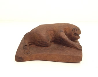 Carved Frog.Frog.Folk Art.Wooden.Sculpture.OOAK.Frog Collection.Amphibian