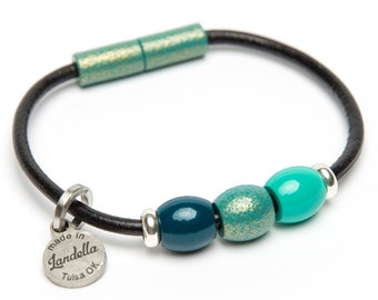 SALE | Color of the Month | Leather Magnetic Landella Teal Turquoise 3 Bead Bracelet