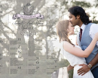 Wedding Seating Chart with Photo/Table Seating/Reception Seating - Professional Print Option