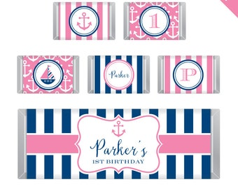 Pink Nautical Party  - Personalized DIY printable Hershey bar labels