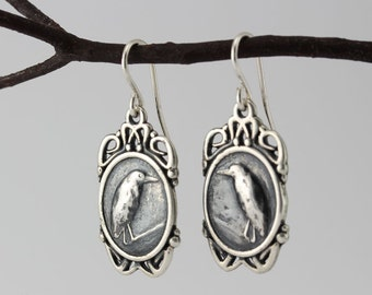 Wild bird earrings, Heron
