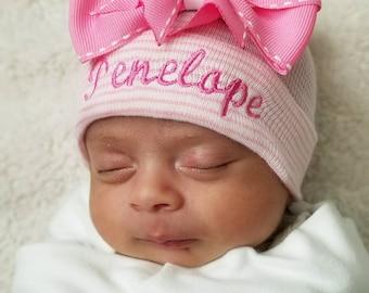 Newborn girl personalized hospital hat- baby girl hospital hat, baby girl hat, newborn beanie, hat baby girl, pink hospital hat, newborn hat