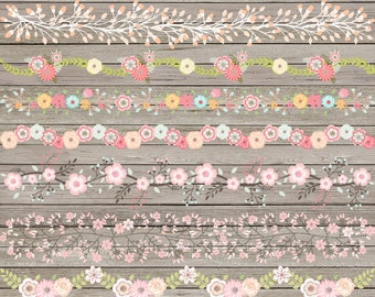 """Floral border clipart: """"FLORAL BORDERS"""" with flower border clipart, border clipart, digital flower border, flower clipart for scrapbooking"""