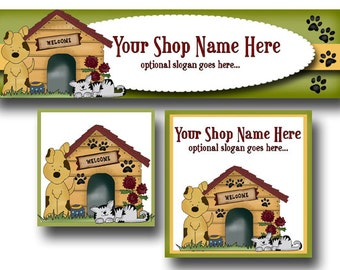Premade Etsy Cover Photo  - Large Etsy Banner - Etsy Shop Banner - Shop Icon - Dogs - Cats - Biscuits - Dog House - Paw Prints