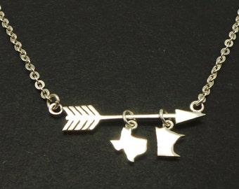 Arrow Texas to Minnesota Necklace - Arrow Jewelry, Custom 2 State Necklace, Two State Necklace, Long Distance Relationship Going Away Gift