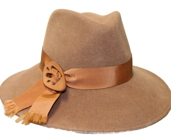 WIDE BRIM Fedora Camel Felt Fedora, Women's Winter Hat, Felt Casual Winter Fedora