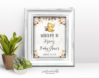 Vintage Floral Winnie the Pooh Baby Shower Welcome Sign - Printable Digital File - Pink and Yellow Floral - Pig and Bear