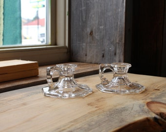 Pair of Vintage Clear Cut Glass Heavy Candlestick Holders with Handles