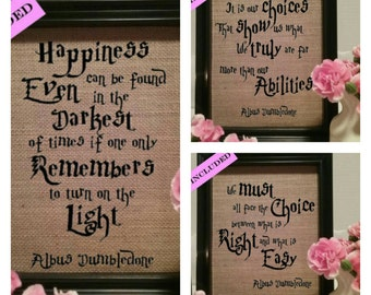 Framed Set of 3 Harry Potter Burlap Prints, Harry Potter, Harry Potter Gift, Harry Potter Birthday, Albus Dumbledone, Nursery decor