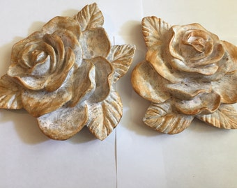 Distressed Shabby Chic Pair Of Plaster Rose Wall Plaques