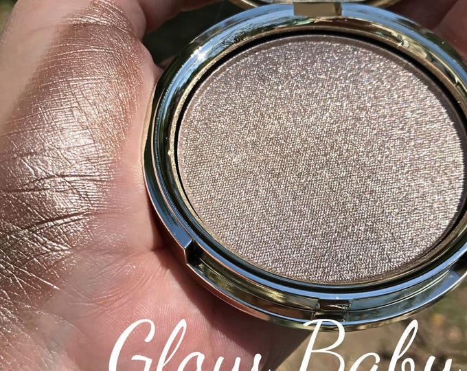 GLOW BABY - Pressed Highlighter - Super shiny Taupy Champagne / White Gold