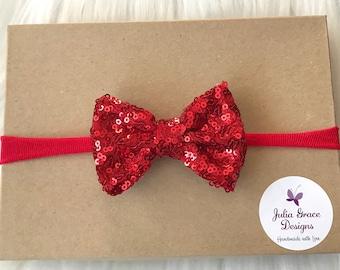 Red Sparkle Bow Headband, Sparkle Hairbow, Nylon Headband, Valentines Day Headband, Baby Headband, Newborn Headband, Infant Headband, Bow