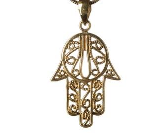Hamsa Hand Of Fatima Brass Necklace Protection Hand Evil Eye jewellery  Handmade Free UK delivery BP1