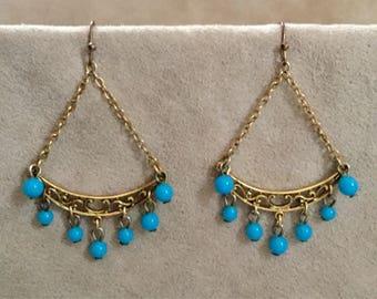 Vintage turquoise chandelier earrings