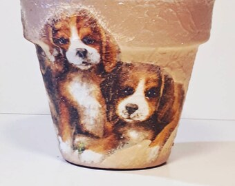 Flower pots puppy dog  garden decor home decor handpainted  centerpiece table decor gift for her, gift for mother, for wife, for girlfriend